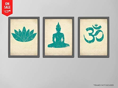 Yoga Print Set, Lotus Flower Prints, Seated Buddha Prints, Om Symbol Prints, Yoga Studio Art Prints, Yoga Silhouettes, Yoga Art Print Set