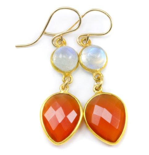 14k Gold Filled Carnelian Blue Moonstone Earrings Facet Goldtone Bezeled Teardrops Double Hung Orange