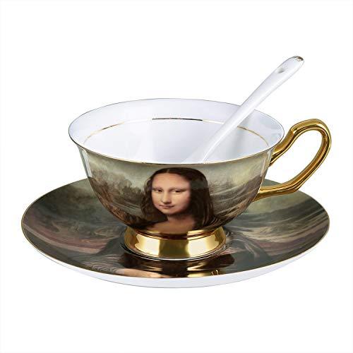 Mona Lisa Smile Coffee Cup in Gift Box - Bone China Tea Cup and Saucer Set with Spoon 8 oz Porcelain Mug, Faliilove