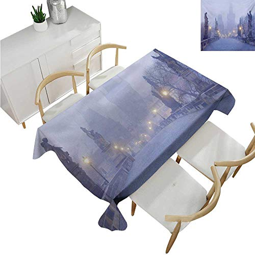 Angoueleven Urban,Wholesale tablecloths,Czech Republic Prague Streets in Foggy Morning on Old Bridge with Statue Cathedral,Fabric Print Tablecloth 60