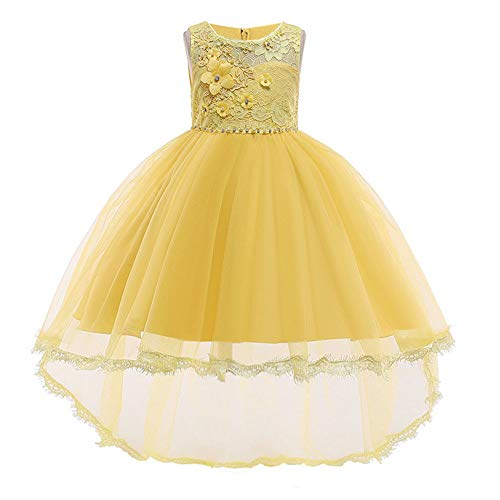 HUAANIUE Girls Pageant Party Dresses Hi-Low Lace Flower Girl Dress Yellow 5-6