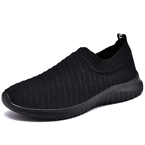 Womens Feet Wide Shoes - TIOSEBON Women's Walking Shoes Lightweight Mesh Slip-on- Breathable Running Sneakers 6 US All Black