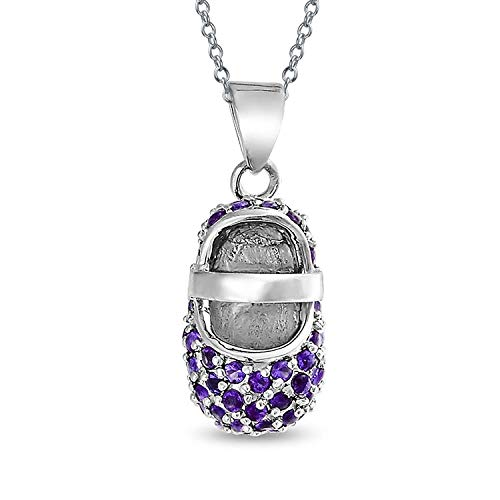 - Purple Pave CZ Baby Shoe Mary Jane Style Pendant Necklace Charm Simulated Amethyst Cubic Zirconia Sterling Silver
