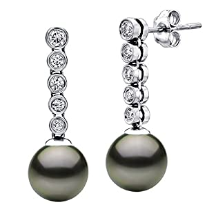 14k White Gold 4/10cttw Diamond and 9-9.5mm Round Black Tahitian Cultured AAA Pearl Stud Dangle Earrings