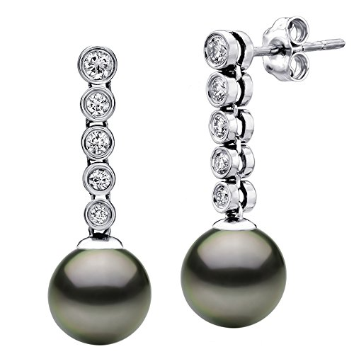 14k White Gold 4/10cttw Diamond 10-10.5mm Round Black Tahitian Cultured AAA Pearl Stud Dangle Earrings by La Regis Jewelry