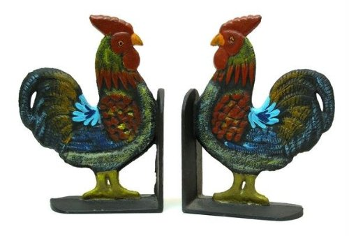 Price comparison product image Iwgac Home Kitchen Cookbook Organizer Cast Iron Rooster Bookends Set