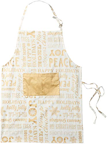 DII Cotton Adjustable Christmas Holiday Kitchen Apron with Pocket and Extra Long Ties, 32 x 28, Men & Women Chef Apron for Cooking, Baking, Crafting, BBQ-Christmas Collage Gold