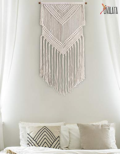 Livalaya Boho Macrame Wall Hanging - Beige 16 in x 36 in Woven Wall Hanging Modern Bohemian Tapestry Boho Room Decor for Bedroom, Boho Home Decor, Apartment, Dorm, Nursery, Party Decorations, Wedding