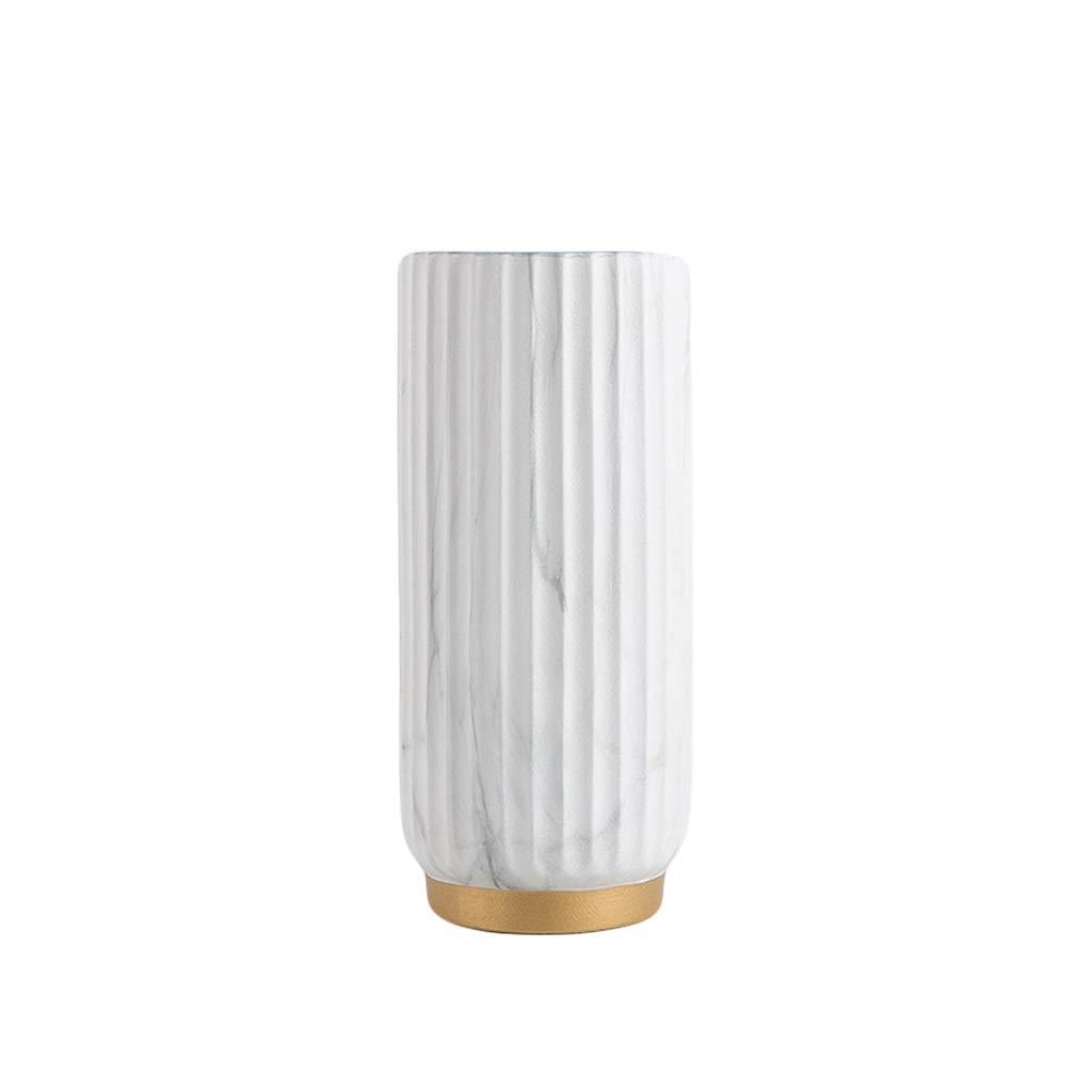 MAHONGQING 北欧スタイルモダンな大理石柄花瓶ライト高級セラミックフラワーリビングルームモデルルームポーチドライフラワーアレンジメント (Size : L) B07S3HPGF7  Large