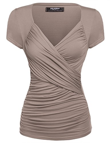 V-Neck Short Sleeve Ruched Slimming T-Shirt Blouse Top Khaki Medium ()
