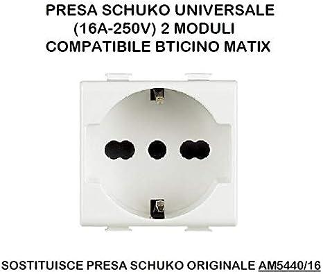BTICINO MATIX PRESA STANDARD TEDESCO E ITALIA 2P+T 10-16A 250VA BIANCO AM5440//16