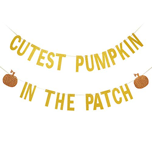 Fall Party Decorations (Gold Glittery Cutest Pumpkin In The Patch Banner,Halloween Party Decorations,Fall Kid's Birthday Party Decor,Mantle Home)