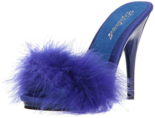 Fabulicious Womens Poise-501F Sandal Blue Satin-marabou Fur/Blue