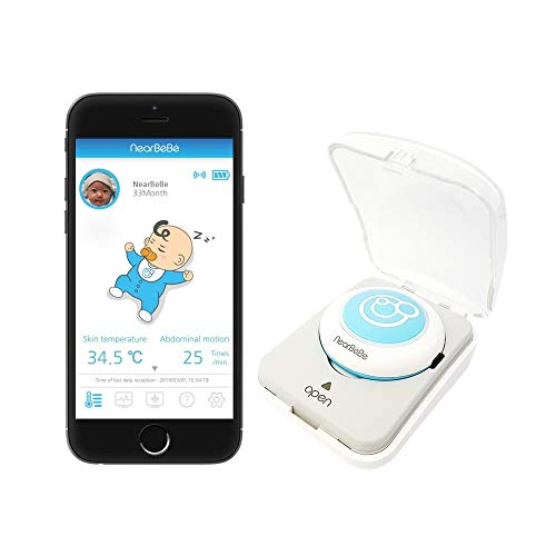 Nearbebe Care - Infant, Baby Safety Monitor: Live Tracks, Alert on No Breathing, Rollover, Skin Temperature, Smart Wearable Device, Movement Sensor, Smartphone App, Room Temperature & Humidity