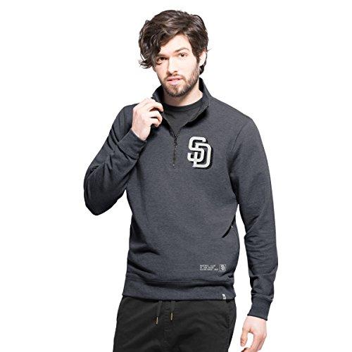 ('47 MLB San Diego Padres Men's React 1/4-Zip Pullover Jacket, Medium, Shift Navy)