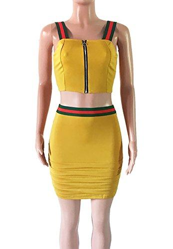 Camiseta Amarillo Mangas Camisola Tops Falda y Camisa Mujer Conjunto Falda Sin Top Verano qT48n7xwH