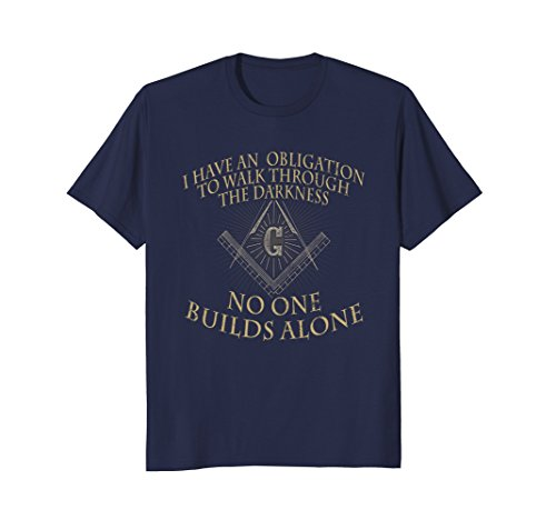 Mens Freemason Shirt No One Builds Alone Freemason Gifts Large Navy