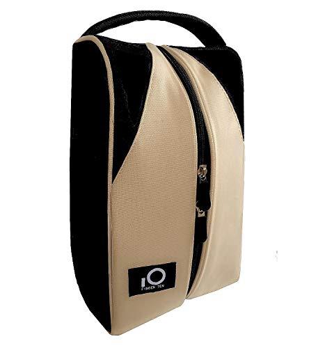 (FINGER TEN Golf Shoe Bag for Men Women, Deluxe Canvas Zipper Tote Large Travel Organizer, Basketball Soccer Gym Sport Gift Pack Set (Black/Khaki))