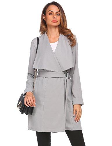 Hufcor Women's Plus Size Elegant Jacket Long Trench Coat With Belt(Grey,XXL)
