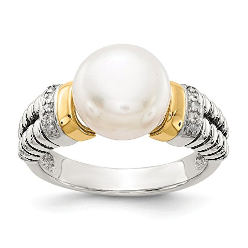 925 Sterling Silver 14k Diamond Freshwater Cultured Pearl Band Ring Size 8.00 Fine Jewelry Gifts For Women For Her