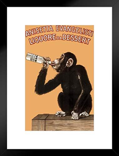 (Poster Foundry Anisetta Evangelisti Liquore Da Dessert Vintage 1925 Italian Advertising Monkey Matted Framed Wall Art Print 20x26 inch )