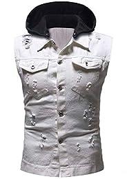 Mens Destroyed Vintage Denim Jacket Waistcoat Blouse Vest Top