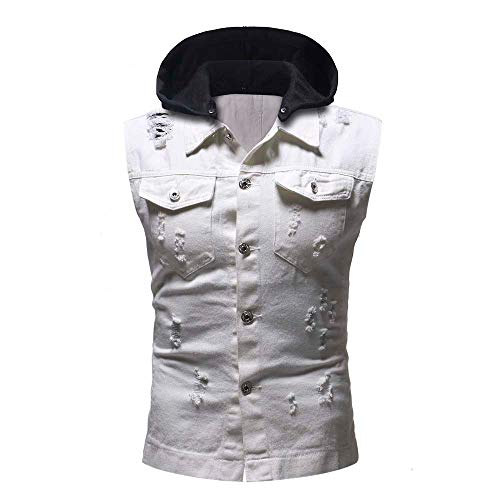 Men's Destroyed Hoodie Jacket Vest AmyDong Vintage Denim Waistcoat Blouse Tops(White,M)