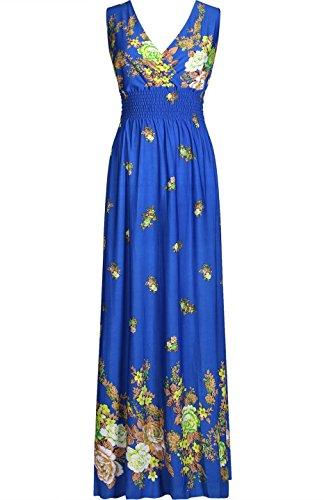 2LUV Women's Sleeveless Floral Empire Smocked Waist Summer Maxi Resort Dress Blue L (Empire Style Dress)