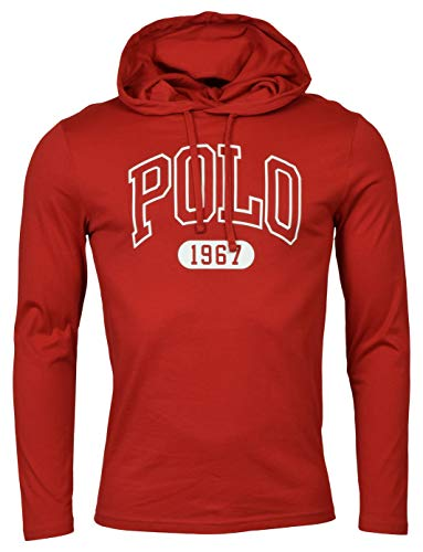 Polo Ralph Lauren Mens Graphic 'Polo' Hooded T-Shirt (Medium, Red)
