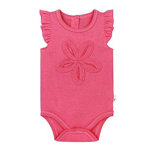 Burt's Bees Baby Baby Girls' Organic Flutter Sleeve Bodysuit, Watermelon, 3-6 Months