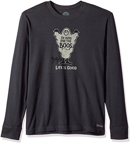 Life is good Men's Crusher Long Sleeve Here For The Boos T-Shirt, Night Black, XX-Large ()
