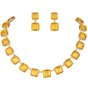 EVER FAITH Gold-Tone Rhinestone Necklace Earrings Set Brown