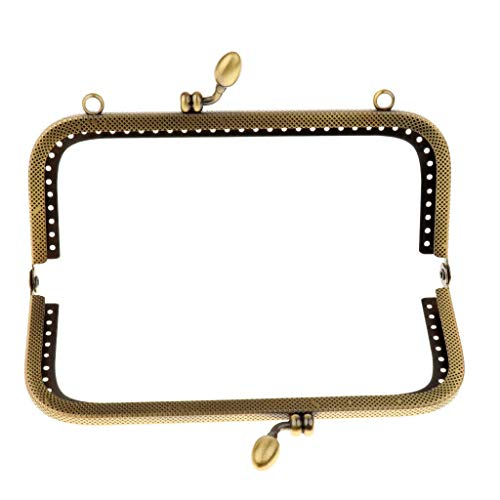 (Purse Handle Bag Metal DIY Craft Frame Kiss Clasp Lock Accessories Bronze Tone | Size - 15cm)