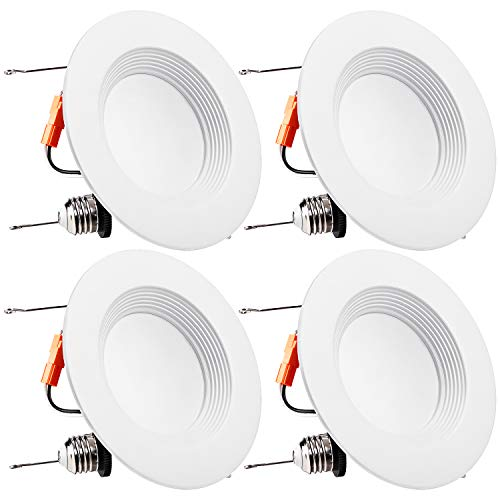 TORCHSTAR 5/6Inch Dimmable LED Retrofit Recessed Downlight with Baffle Trim, 15W (120W Equivalent), UL-Listed, CRI90+, 1100lm, 5000K Daylight, 5 Years Warranty, Pack of 4