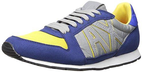 A|X Armani Exchange Men's Retro Running Fashion Sneaker, Marine/Acid, 43 EU/10 M - Style Exchange Armani