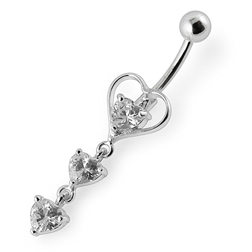 White Crystal Stone Fancy Triple Heart Dangling 925 Sterling Silver with Stainless Steel Belly Button Rings