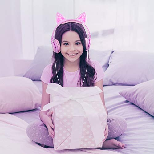 Esonstyle Kids headphones Over Ear with LED Glowing Cat Ears,Safe Wired Kids Headsets 85dB Volume Limited, Food Grade Silicone, 3.5mm Aux Jack, Cat-Inspired Pink Headphones for Girls (purple)