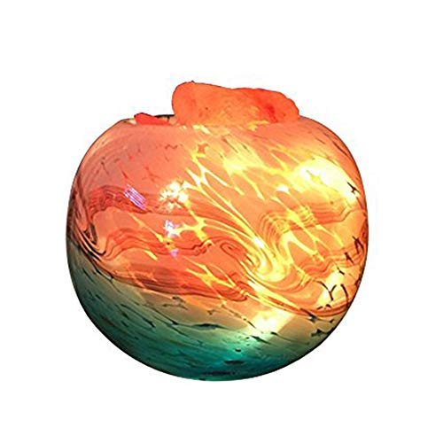 - LUCKSTAR Himalayan Salt Lamp - Natural Rock Crystal Salt Lamp Natural Salt Crystal Chunks in Glass Bowl with Stripe Indoor Decoration Dimmer Switch Soft Warm Healthy Negative ion Air Purifying Lamp