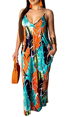 Womens Spaghetti Strap Sleeveless Dresses V Neck Floral Print Backless Sexy Loose Party Maxi Long Dress Leaf XL