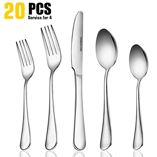 20 Piece Fine Flatware Set, Cutlery Sets Stainless Steel Mirror Polished with Dinner Knives, Forks and Spoons for Dessert & Dinner, Umite Chef Modern Eating Utensils Silverware Tableware Service for (Stainless Flatware Dessert Spoon)