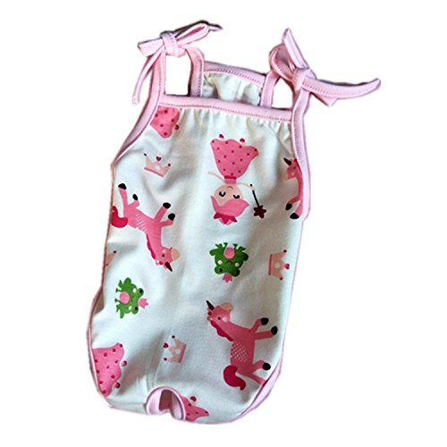 Stock Show 1Pc Pet Dog Diapers One-piece Garment, Printed Cotton Suspender Sanitary Physiological Pants Bodysuit for Cats Puppy, Red Cherry/Pink (Printed Knickers)