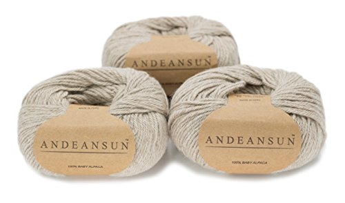 (100% Baby Alpaca Yarn Skeins - Set of 3 (Oatmeal) - AndeanSun - Luxuriously Soft for Knitting, Crocheting - Great for Baby Garments, Scarves, Hats, and Craft Projects - Oatmeal)