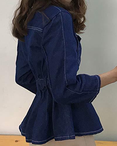 Manica Giacca Cappotto Di Lunga Blu Lavato Denim Jacket Anyua Donna Giubbotto Jeans xgqIIf