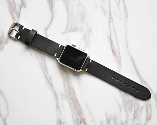 Black iWatch 4 Band 38mm 40mm 42mm 44mm Custom Distressed Genuine Leather Mens Apple Strap For Series 1 2 3 ()