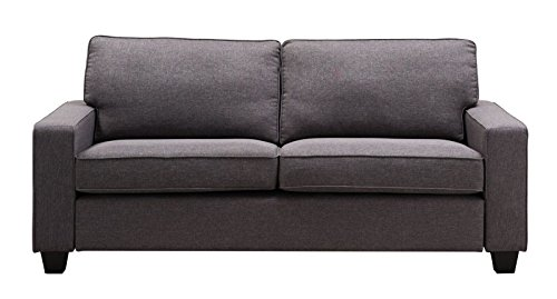 Italian Leather Daybed (Westwood Manchester Grey Linen 73-inch Sofa)