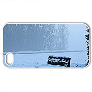 bench winter - Case Cover for iPhone 4 and 4s (Winter Series, Watercolor style, White)
