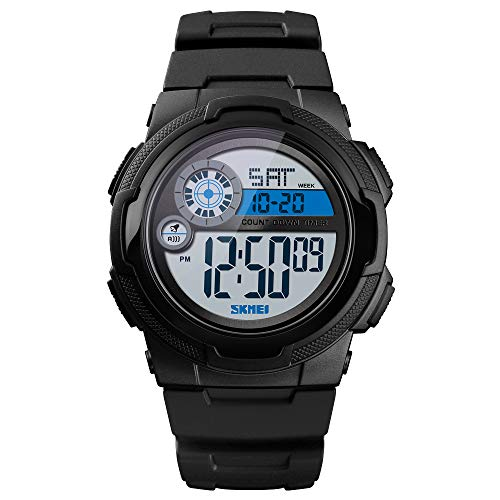 Countdown Stopwatch Timer Dual Time - Sport Digital Watch Waterproof, Men's Teenager Boy Wirst Watch with Alarm Countdown Timer Stopwatch Date Dual Time Dispaly 12/24h Format Backlight