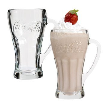 (Old Fashioned Genuine trademarked heavy weight Contoured-Glass COCA-COLA MUGS, SET OF 4, MADE IN USA)