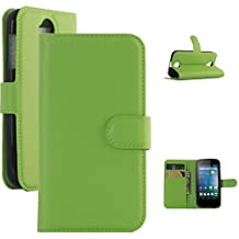 Acer Z330 Case, ANGELLA-M Retro Litchi Texture Wallet Stand Case PU Leather Flip Protective Case Cover For Acer Liquid Z330 Z320 M330 - Green