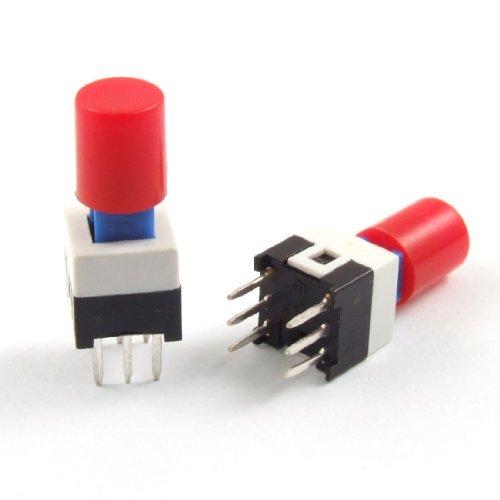 DealMux 10個6ピンレッドキャップモーメンタリ触覚タクト押しボタンスイッチ7×7ミリメートルX 12ミリメートル